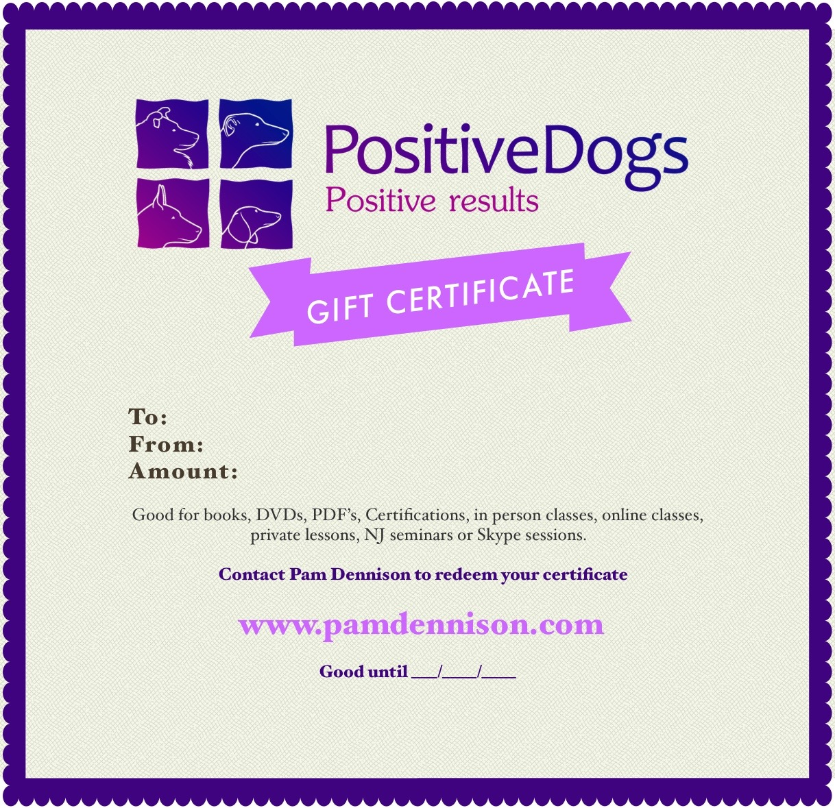 Gift certificate positive motivation dog training gift certificate xflitez Image collections